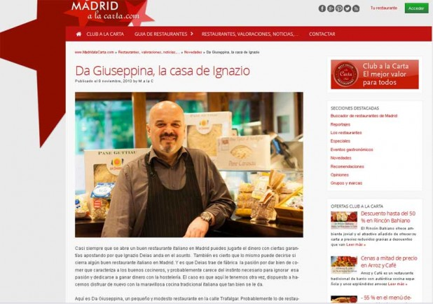 El restaurante Da Giuseppina en Madridalacarta.com