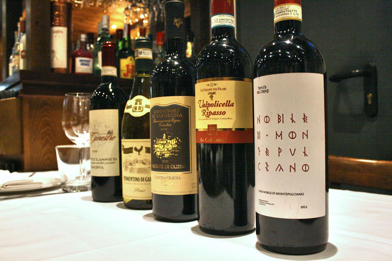 Vinos italianos en Da Giuseppina